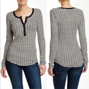 Lucky Brand - Black and White Striped Henley